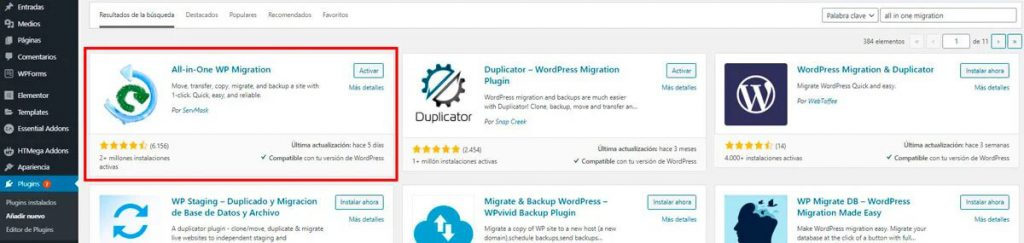 instalar all in one migration en wordpress migration plugin|